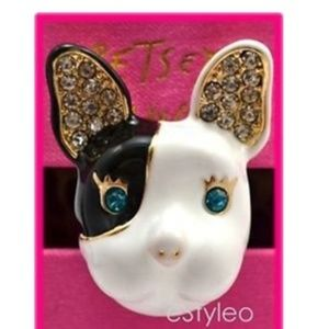 Betsey Johnson Ring Bulldog Ceramic Enamel sz7 NEW